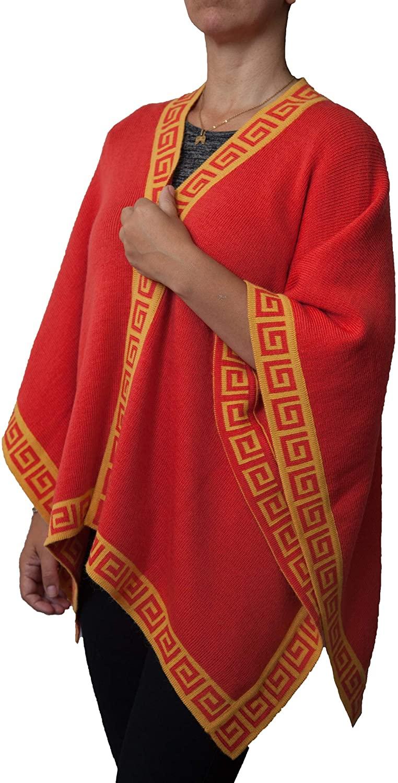 TINKUY PERU - Peruvian Alpaca Wool - Women´s Reversible Inca Ocher & Mustard Geometric Design - Pashmina Cape Poncho Ruana