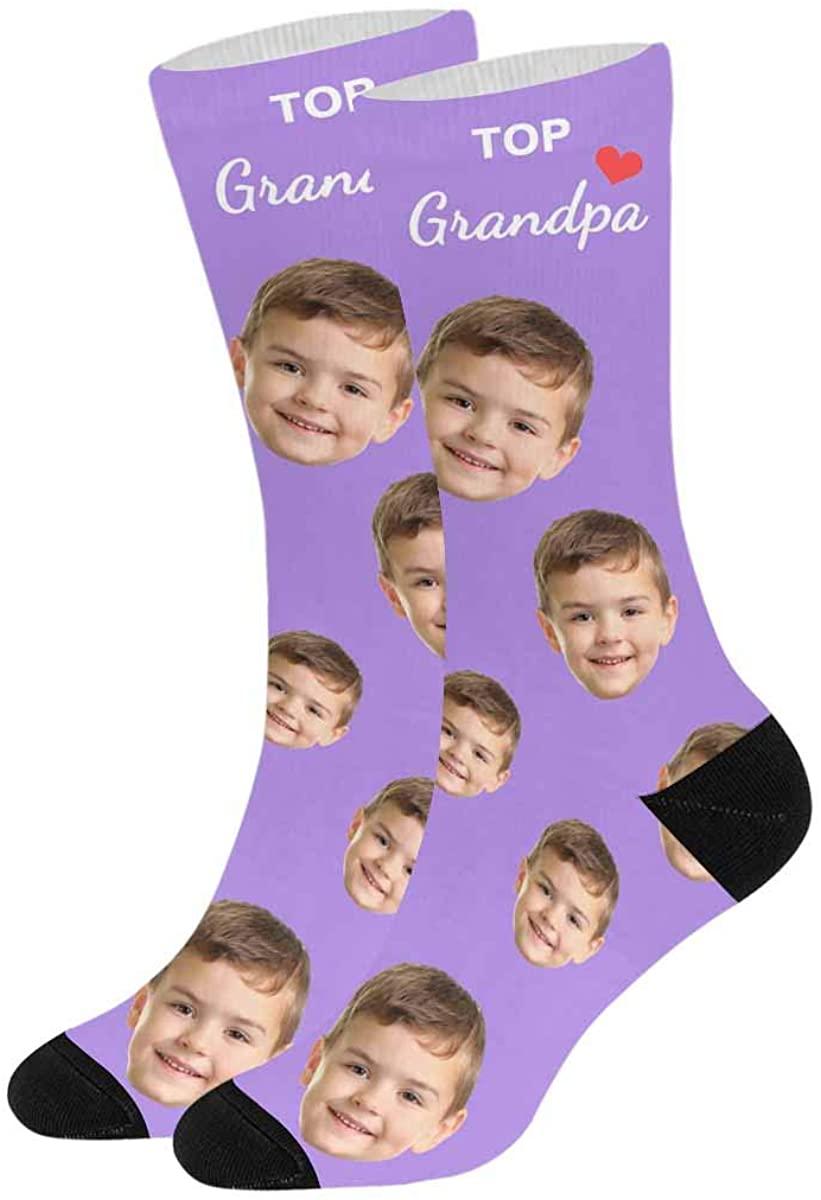 Turn Your Face into Socks Top Grandpa with Heart on White, Custom Photo Sock for Men Women
