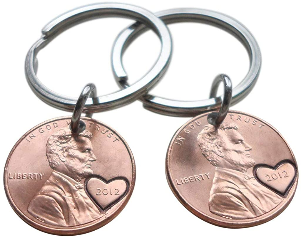 Double Keychain Set 2012 Penny Keychains With Heart Around Year, 8 year Anniversary