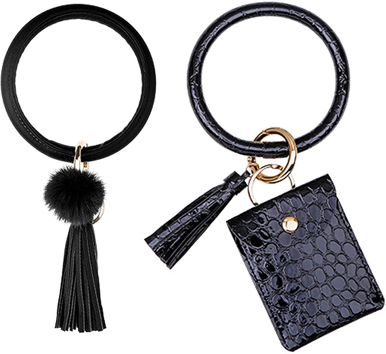 GOTONE 2PCS Keychain Wristlet Bracelet Card Holder Leather Purse