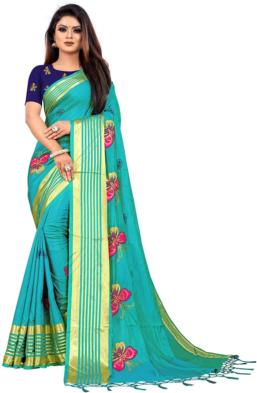 kfgroup Women's Silk Embroidered Saree Indian Ethnic Dresses Wedding Sari Blouse Piece