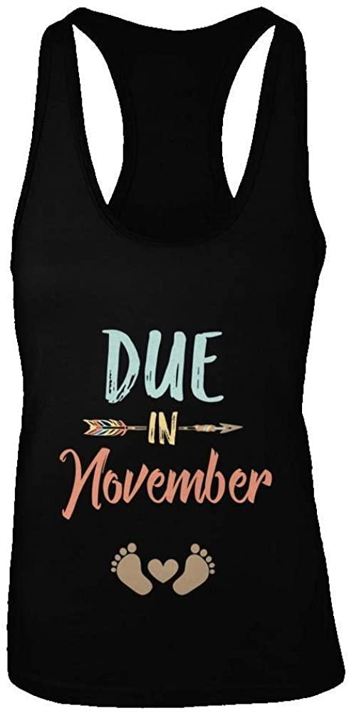 TeesPass Womens Due Date November 2020 Announcement Mommy Bump Pregnancy Shirt Racerback Tank Top