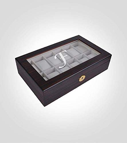 Wooden Watch Collection Box | Ebony Wood Case with Glass Lid | 12 Piece Watch Storage & Custom Engraved Box | Watch Case Organizer with Secured Lock | Brown