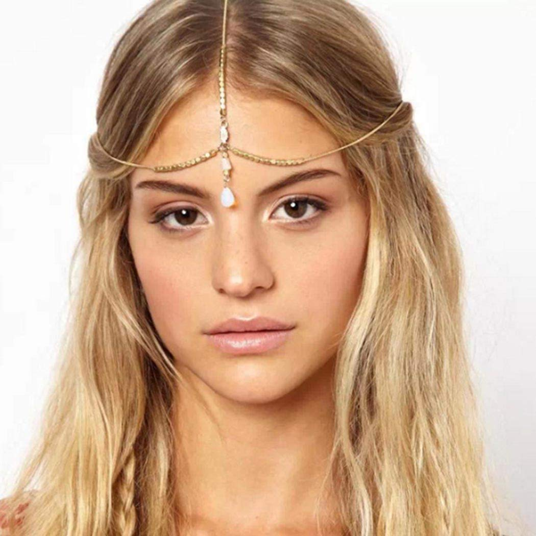 Bmadge Boho Teardrop Head Chain Jewelry Gold Bead Layering Headpieces Dainty Bridal Princess Head Accessories for Women and Girls (Silver)
