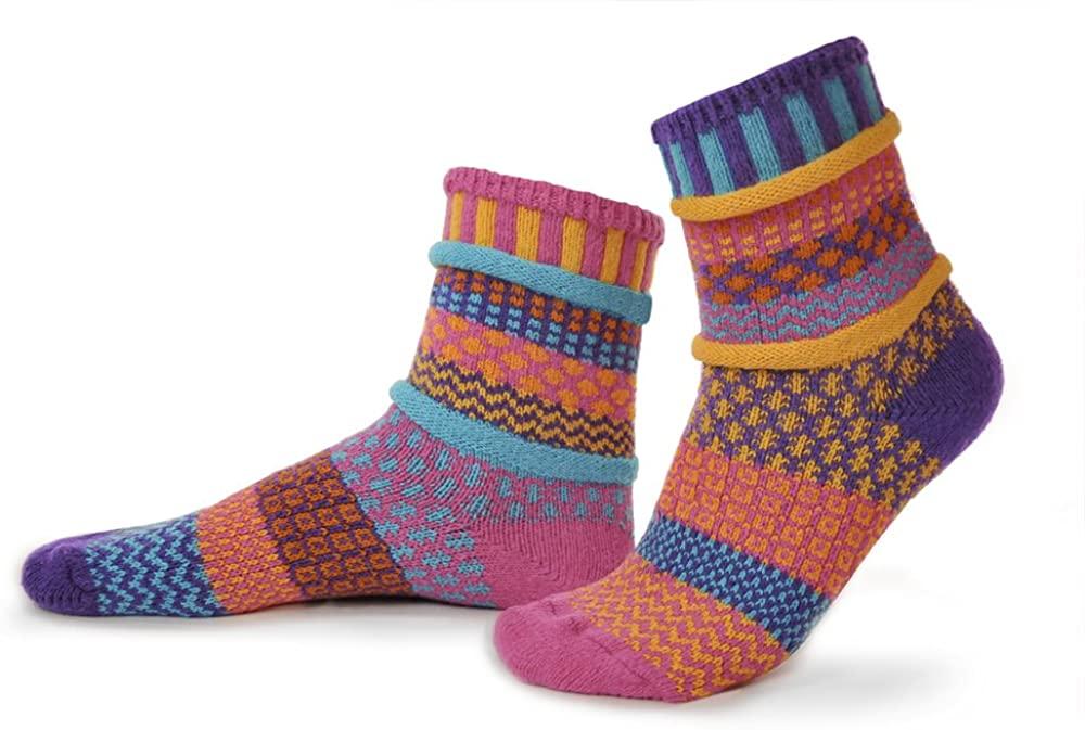 Solmate Socks - Mismatched Crew Socks; Made in USA; Carnation Large