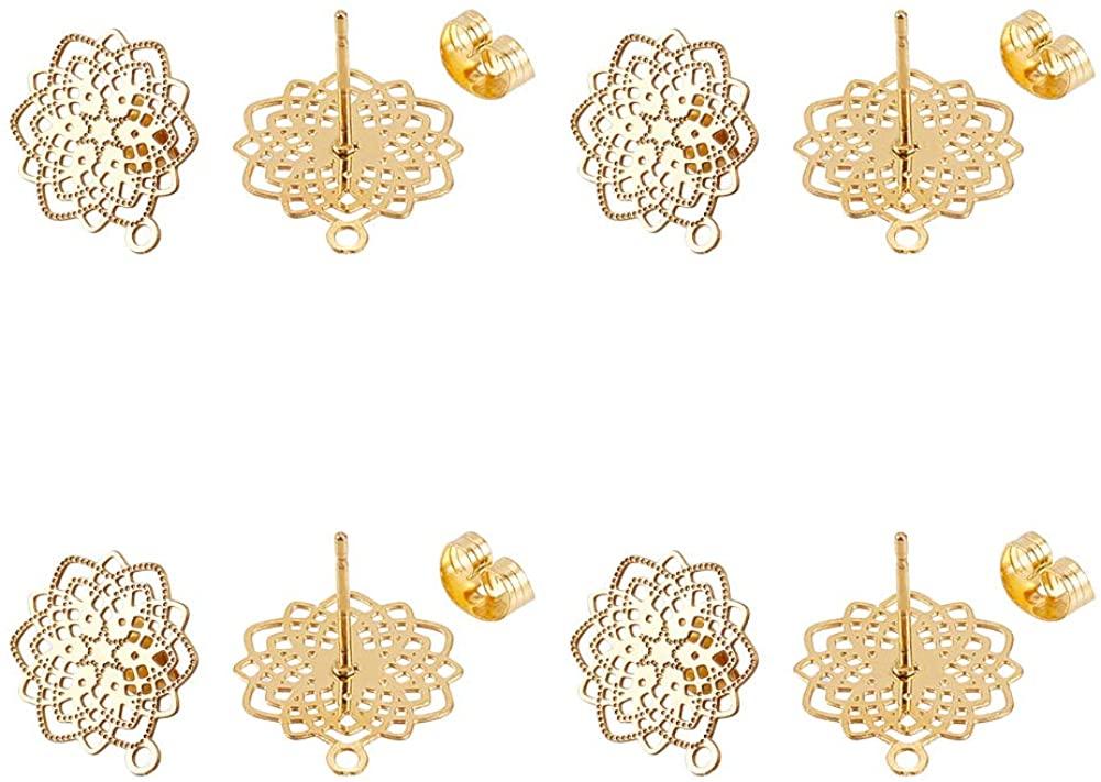 UNICRAFTALE 10pcs Stainless Steel Stud Earring Findings Flower Shape Earring Findings Golden Earring Components for Jewelry Making 17x14.5mm, Hole 1mm