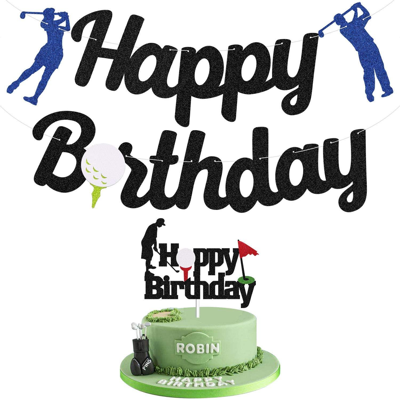 Glitter Golf Birthday Banner Happy Birthday Golf Theme Cake Topper, Sports Themed Birthday Party Decorations Supplies for Men Boy Adult Kids, Play Golf Black Birthday Banner Kit