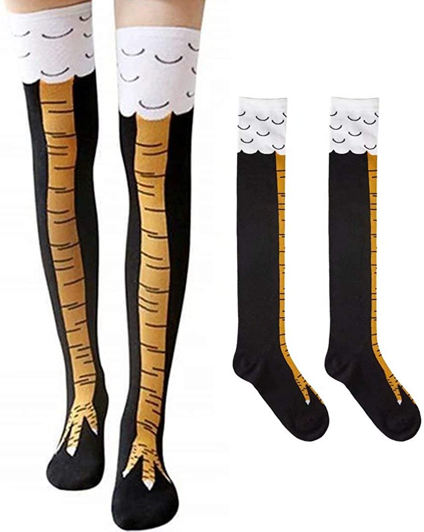 Crazy Funny Chicken Legs Socks Cotton Knee High Cartoon Animal Socks for Women Cosplay, Costumes Party, Unisex Novelty Gift