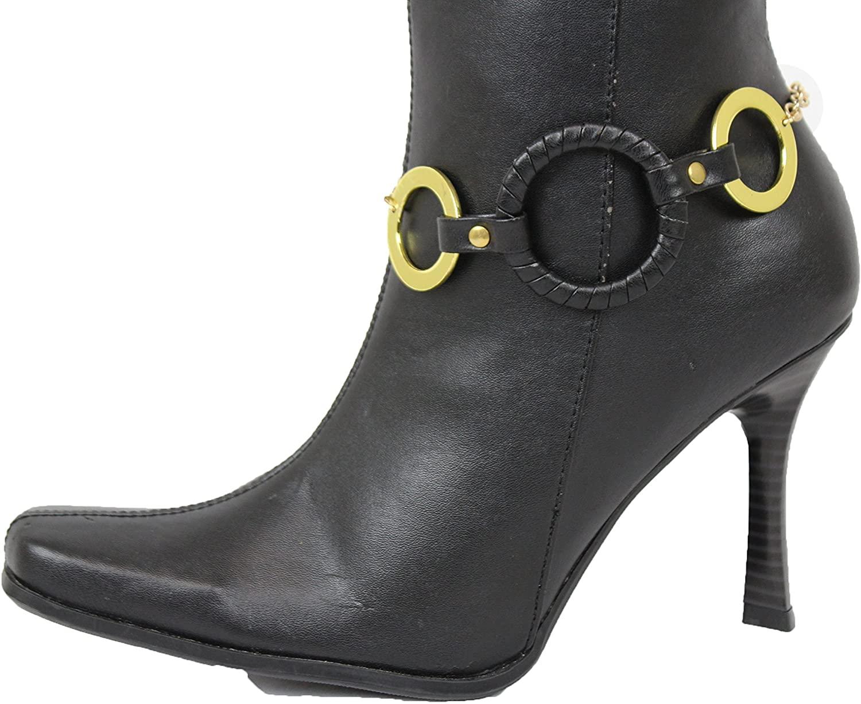 TFJ Women Western Fashion Jewelry Boot Bracelet Gold Metal Chain Shoe Anklet Western Black Rings Charm