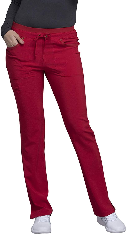 CHEROKEE iflex Mid Rise Tapered Leg Drawstring Pants, CK010, 2XL, Red