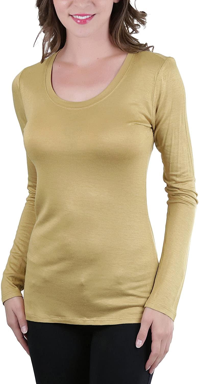 ToBeInStyle Women's Long Sleeve Round Scoop Neckline T-Shirt