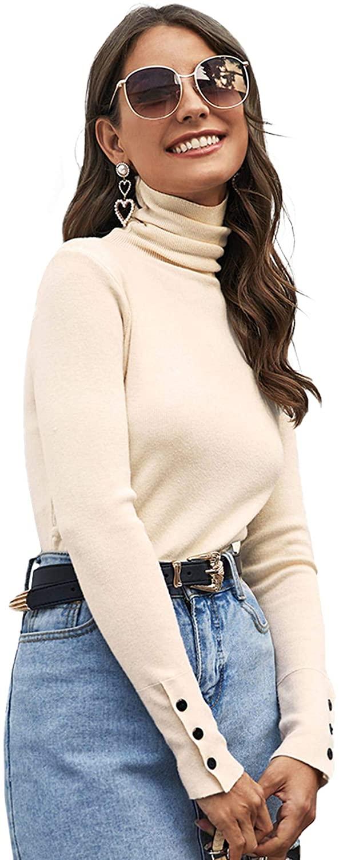 Floerns Women's Solid High Neck Long Sleeve Button Cuff Basic Sweater Top