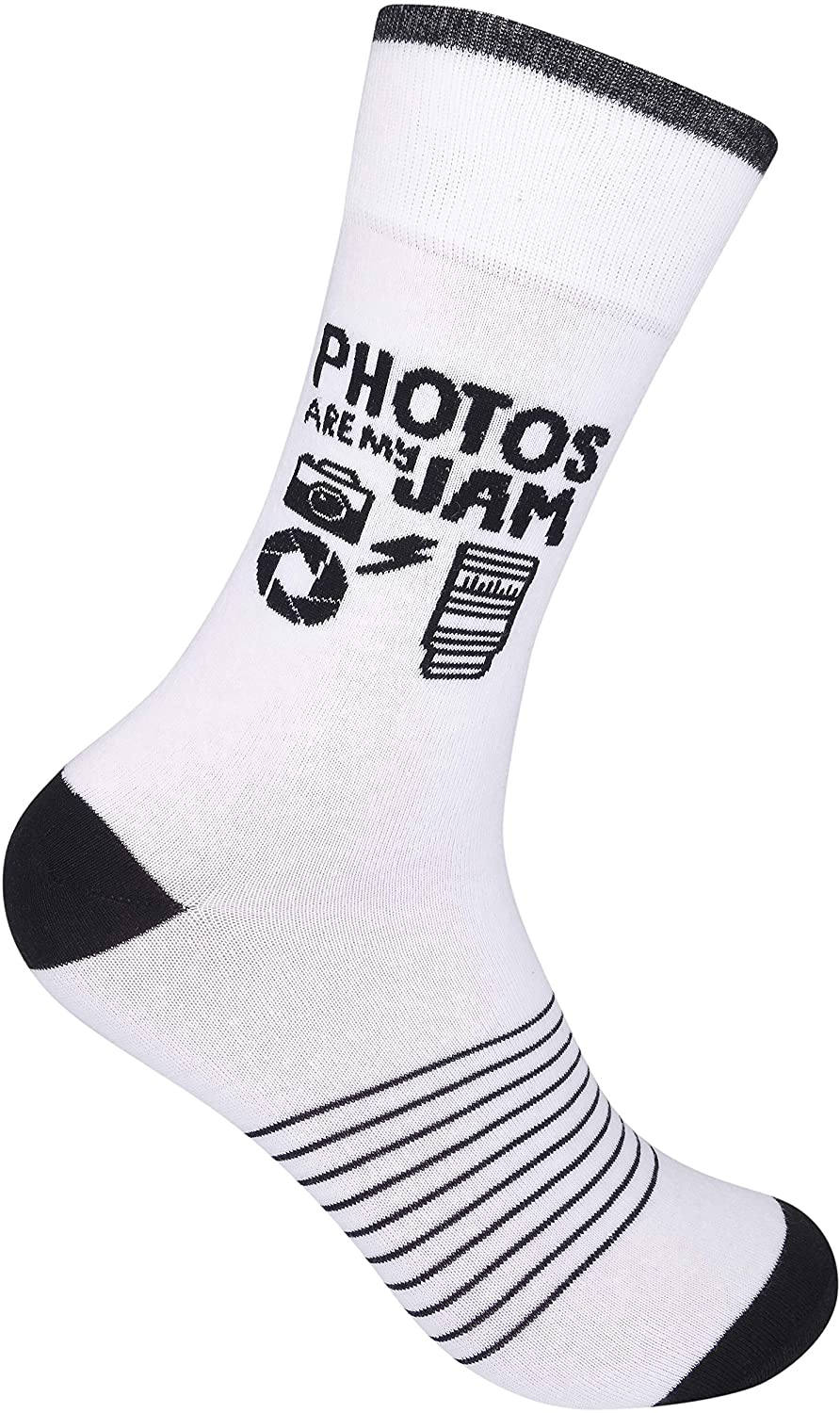 Photos Are My Jam Novelty Crew Socks | Original Unisex Funny Photographer Appreciation Day Gift Apparel for Men Women Adult | Best Photography, Camera, and Pic Lover Word Present | One Size Fits Most