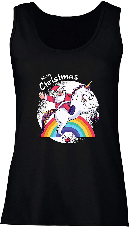 lepni.me Women's Tank Top Funny Santa Claus Riding Unicorn