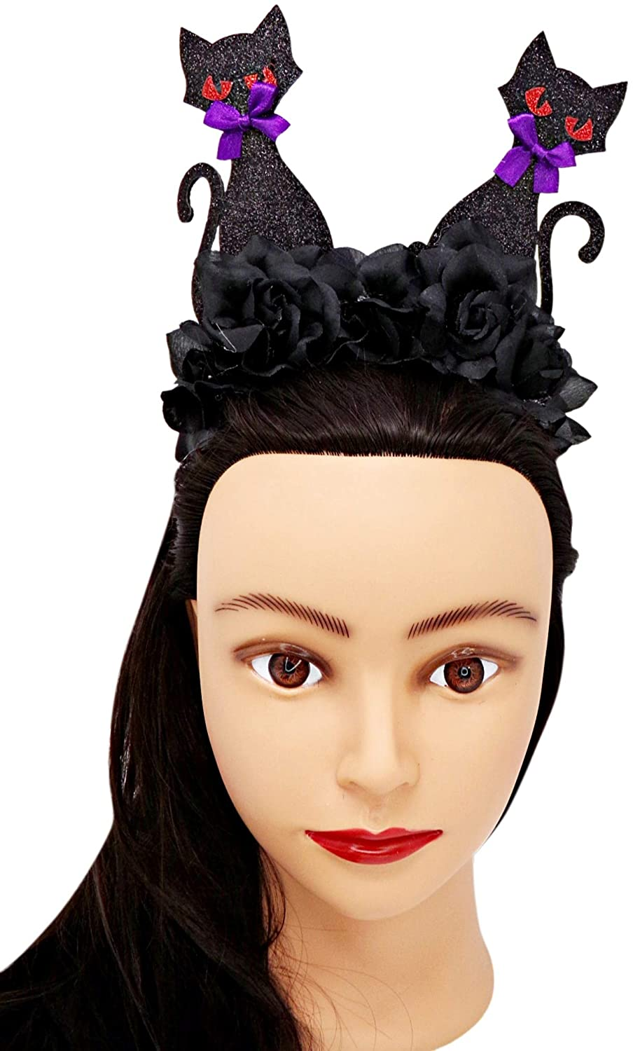 Black Rose Crown with Flowers and Sparkly Cats Fashion Halloween Headband Costume Accessory, One Size