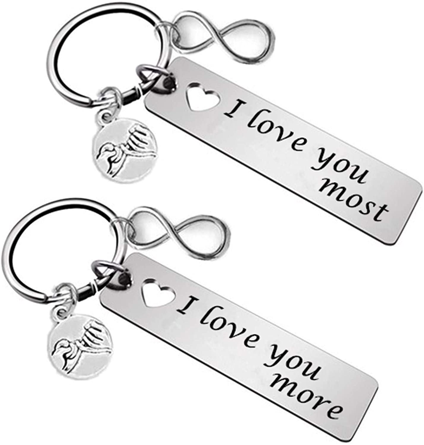 JUPPE Fashion Couples Keychains Set Personalized Keyring Valentine's Day Anniversary for Boyfriend Girlfriend Husband (2PCS)