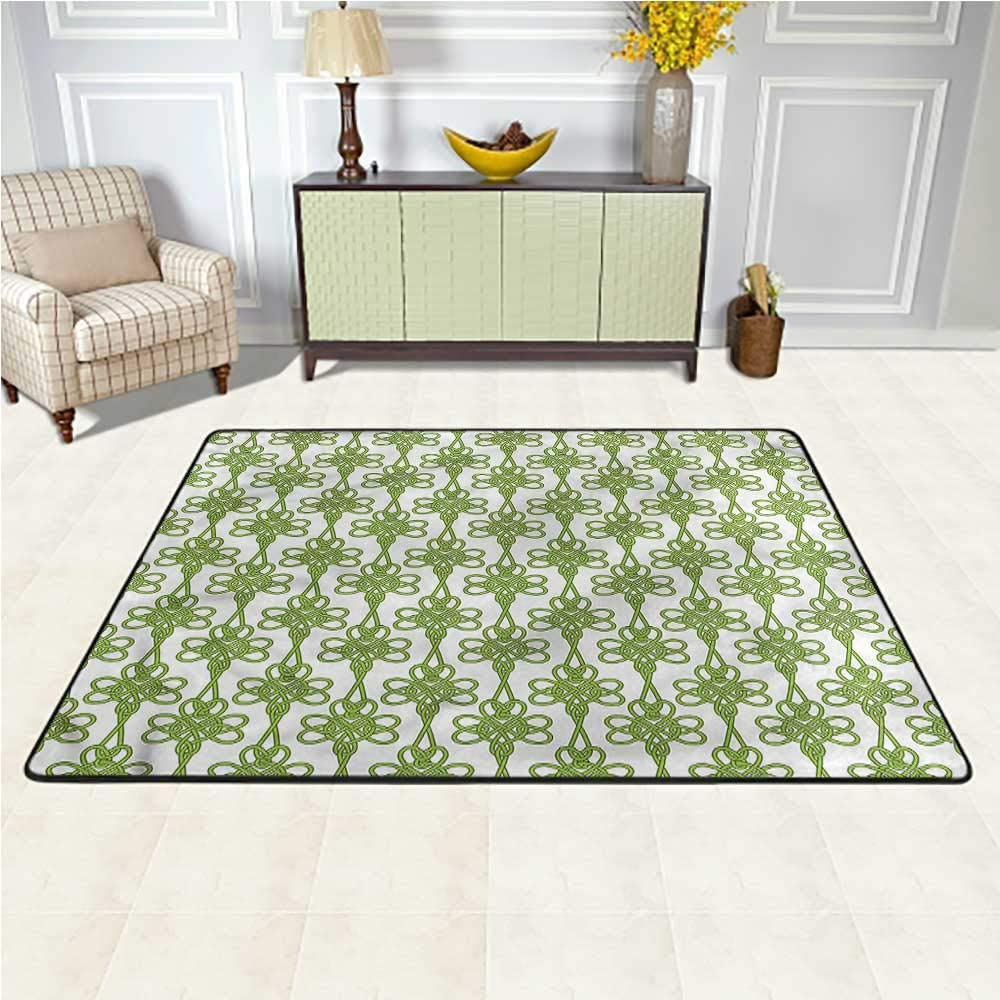 Area Rug Irish, Entangled Clover Leaves Traditional Bright Colorful Area Rug for Children to Crawl and Play 6.5 x 10 Feet