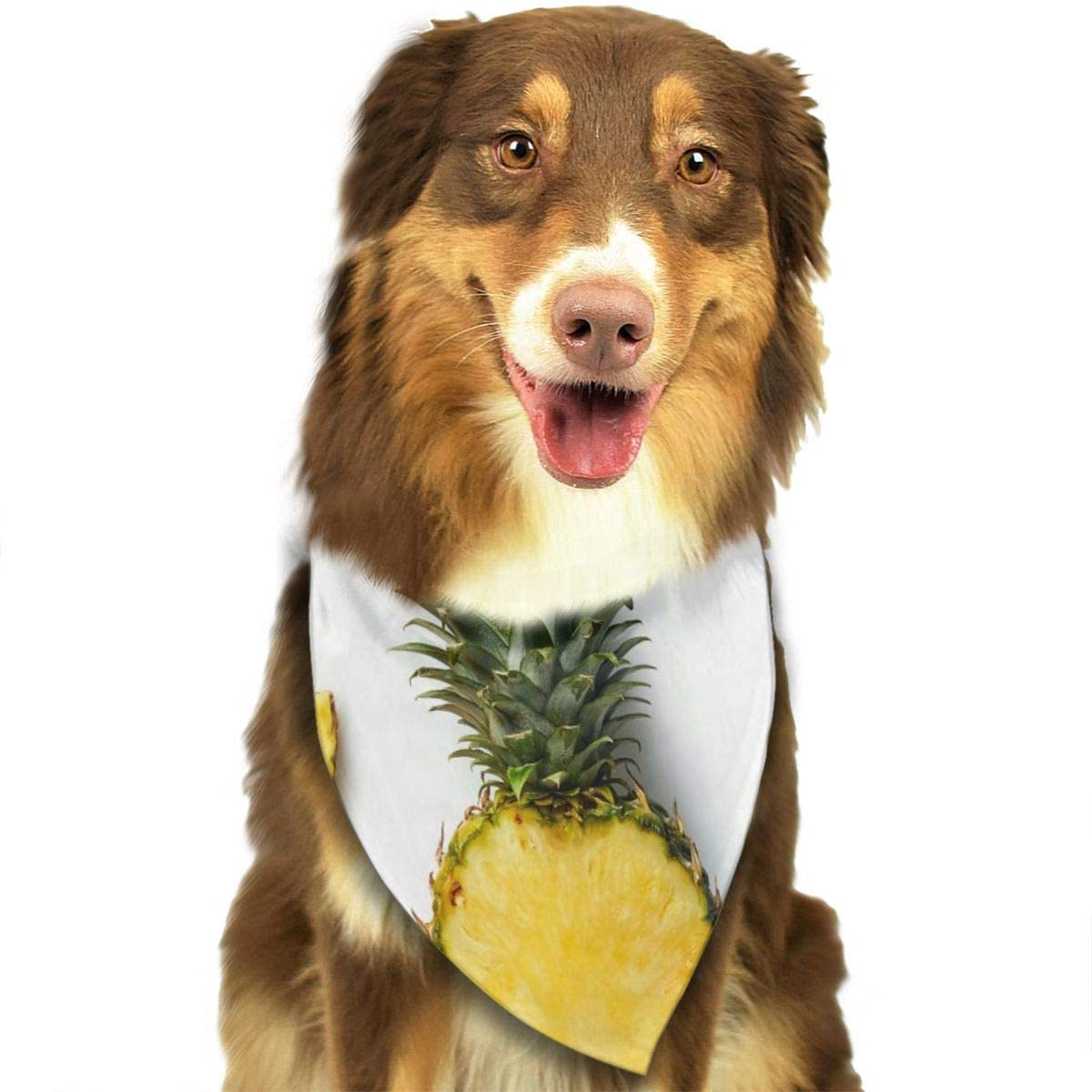 BEVRRY Dog Bandana,Fresh Whole and Cut Pineapple Pet Bandana Scarf Triangle Bibs Kerchief Set Pet Costume Accessories Decoration for Small Medium Large Dogs Cats Pets