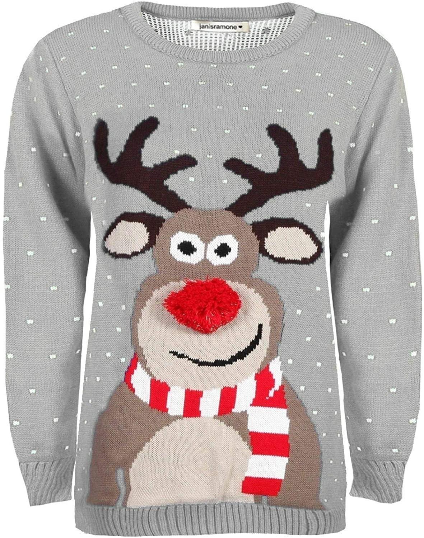 Janisramone Kids Girls Boys Reindeer Print Long Sleeve Christmas Jumper Winter Sweater