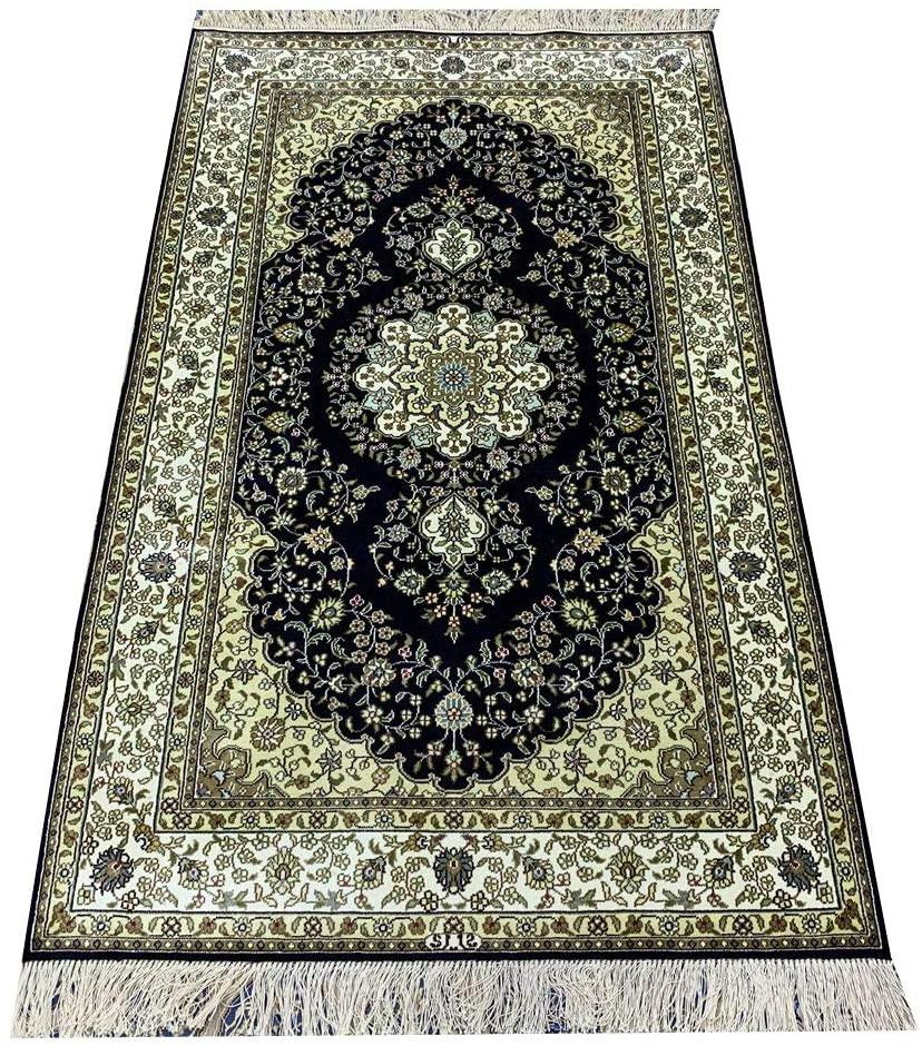 Camel Carpet 3x5ft Small Hand Woven Silk Oriental Qum Carpets Handmade Persian Area Rugs for Home Decor (Dark Blue)