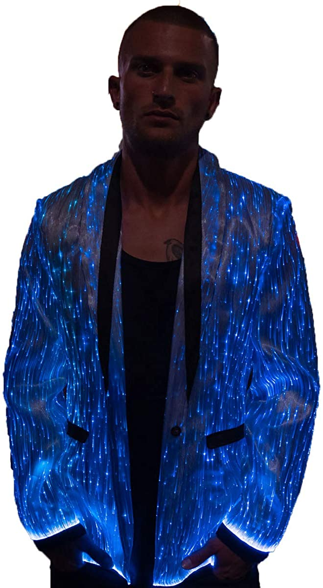 Jacket for Men Light Up LED Clothing Party VIP Luxury Mens Blazer