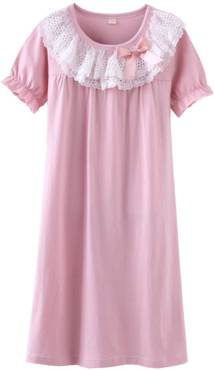 DGAGA Little Girls Princess Nightgown Cotton Lace Bowknot Sleepwear Nightdress