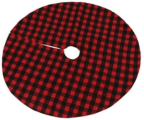 Yistao Christmas Tree Skirt Red and Black Buffalo Check Plaid Tree Skirt, 35 Inch Double Layers Xmas Tree Skirt for Christmas Decorations, Winter New Year Farmhouse Ornaments