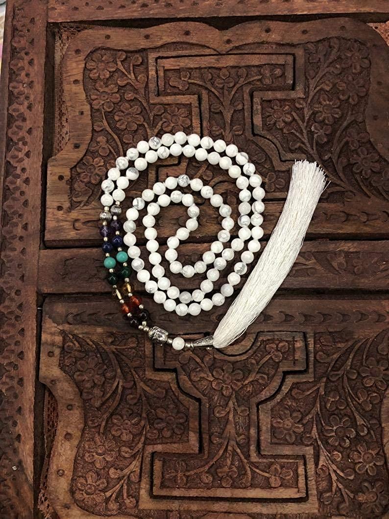 Howlite Chakra Budhist Hindu Prayer Mala Small 6mm Beads 17 Inches Long