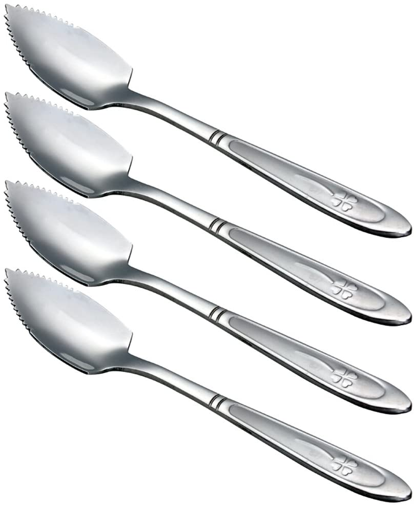 HAZOULEN Grapefruit Spoons, Stainless Steel, 6-2/5-Inch, Set of 4 (Clover)