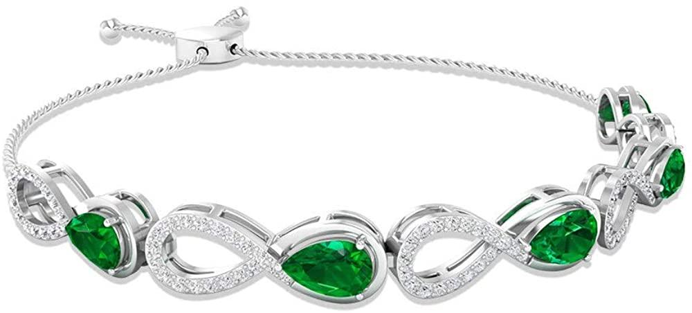 Pear Shaped 2.71 CT Emerald Certified Diamond Infinity Bolo Bracelet, Adjustable May Birthstone Chain Link Stacking Bracelet, Women Stacking Bracelets 10K