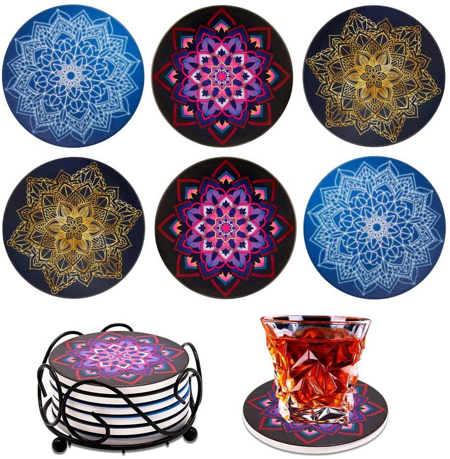 Coasters for Drinks Absorbent with Holder, Drink Coasters Gift Set of 6 for Tabletop Protection, Suitable for Kinds of Cups, Wooden Table