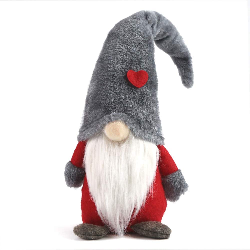 1Tomte Swedish Plush Santa Gnome, Handmade Scandinavian Tomte Santa Scandinavian Gnome Plush Heart for Christmas Santa Decoration Table Decor