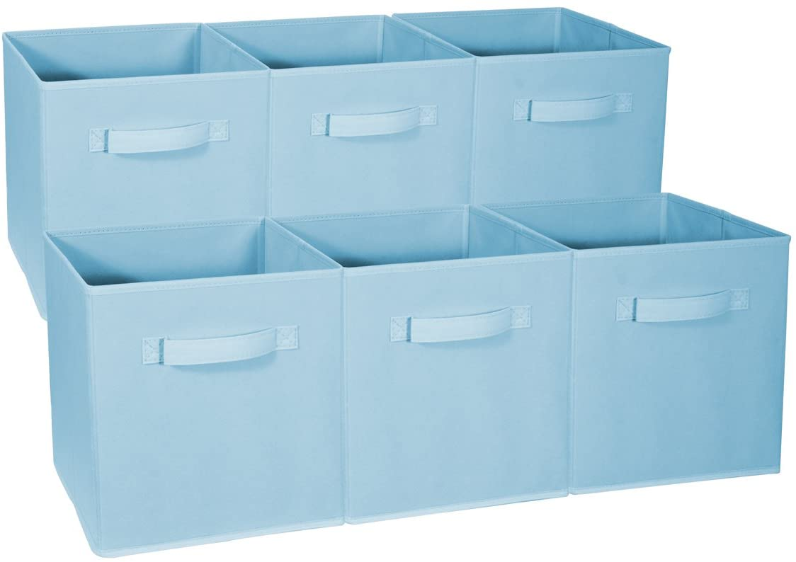 Sorbus Foldable Storage Cube Basket Bin - Great for Nursery, Playroom, Closet, Home Organization (Pastel Blue, 6 Pack)