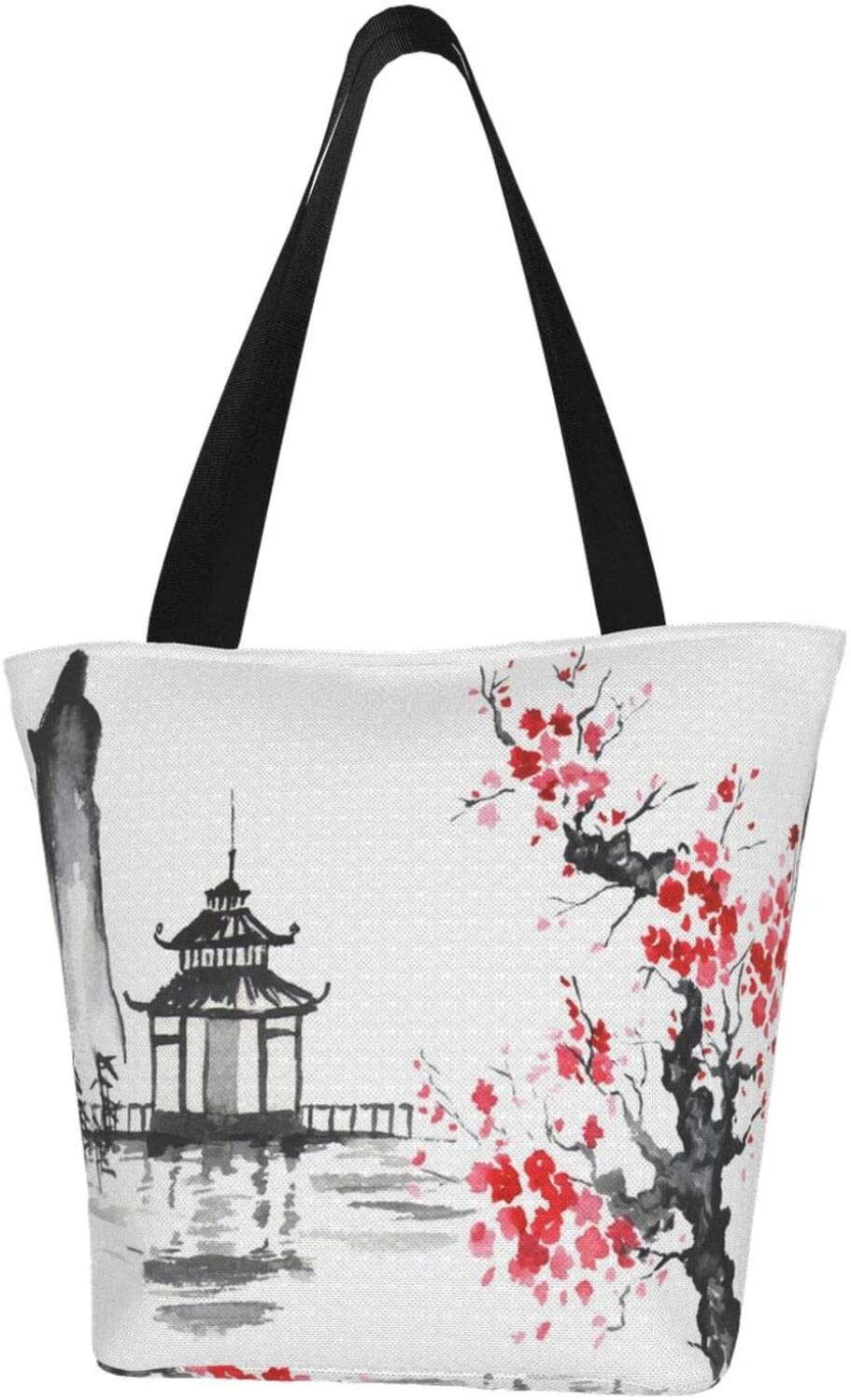 Reusable Traditional Japanese Mountain Cherry Blossom Canvas Tote Bag ,Durable Canvas Tote Bag with Interior Pocket ,Washable Foldable Canvas Tote Bag for Beach,Shipping,Groceries,Books