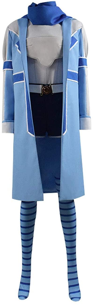 Halloween Sally Cosplay Costume Risa Shiramine Blue Bofuri Uniform with Scarf Full Set Outfits for Women