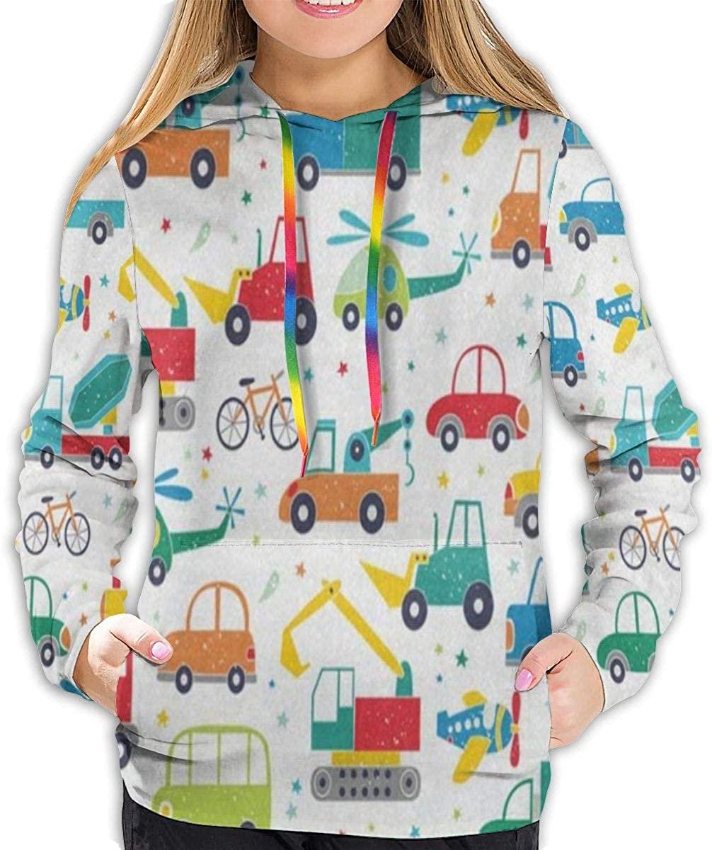 N\ A Cartoon Cars Collection Hoodies for Women Hooded Sweatshirt Long Sleeve Pullover Shirts Teen Girls