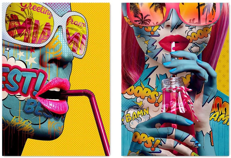 VIAYA 2 Pcs Graffiti Street Wall Art Canvas Portrait Photography Hawaiian Style Wall Art Poster Modern Art Decor Painting for Home Decorations(Unframed,16x20 inches)