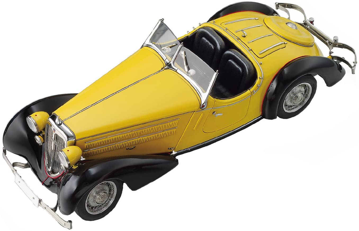 CMC-Classic Model Cars Audi 225 Front Roadster, Black/Yellow Limited Edition 1:18 Scale Detailed Assembled Collectible Historic Antique Vehicle Replica