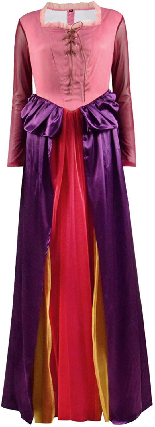 TOPSUN Womens Winifred Sanderson Costume Dress Adult Sarah Sanderson Dress Halloween Witch Cosplay Costume Outfits
