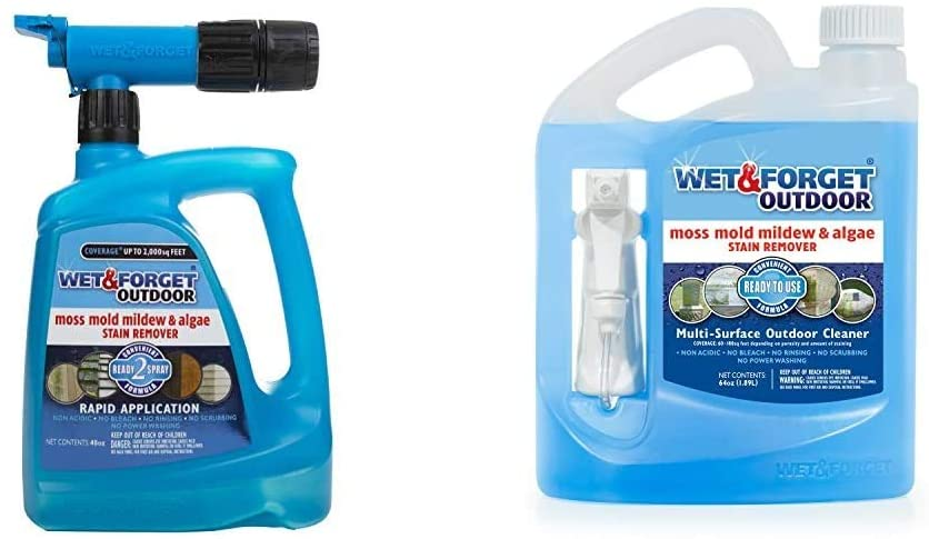 Wet & Forget Roof and Siding Cleaner for Easy Removal of Mold, Mildew and Algae Stains, Bleach-Free Formula, 48 OZ. & No Scrub Outdoor Cleaner for Easy Removal of Mold, Mildew and Algae Stains,64 Oz.