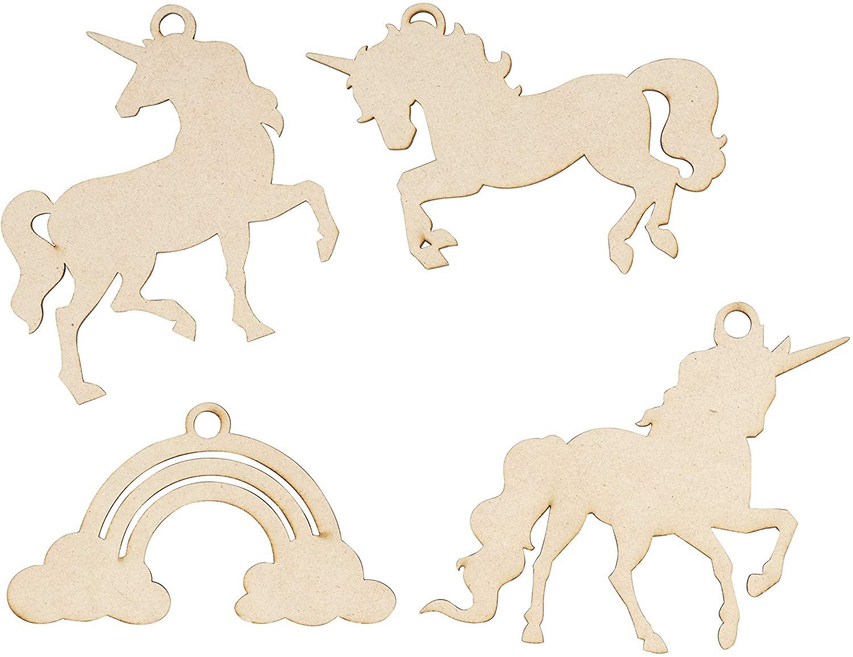 Juvale Wood Christmas Ornaments, Unicorn Ornament (24 Pieces)