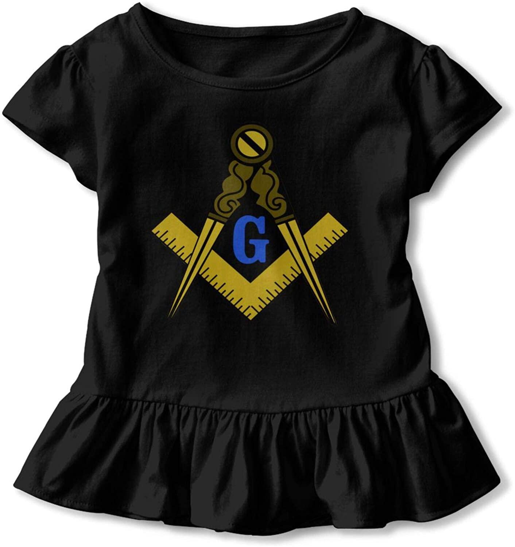 Freem-Ason Children's Ruffle Hem Tshirt,Girl's Simple Flounce Short Sleeves Tops Black