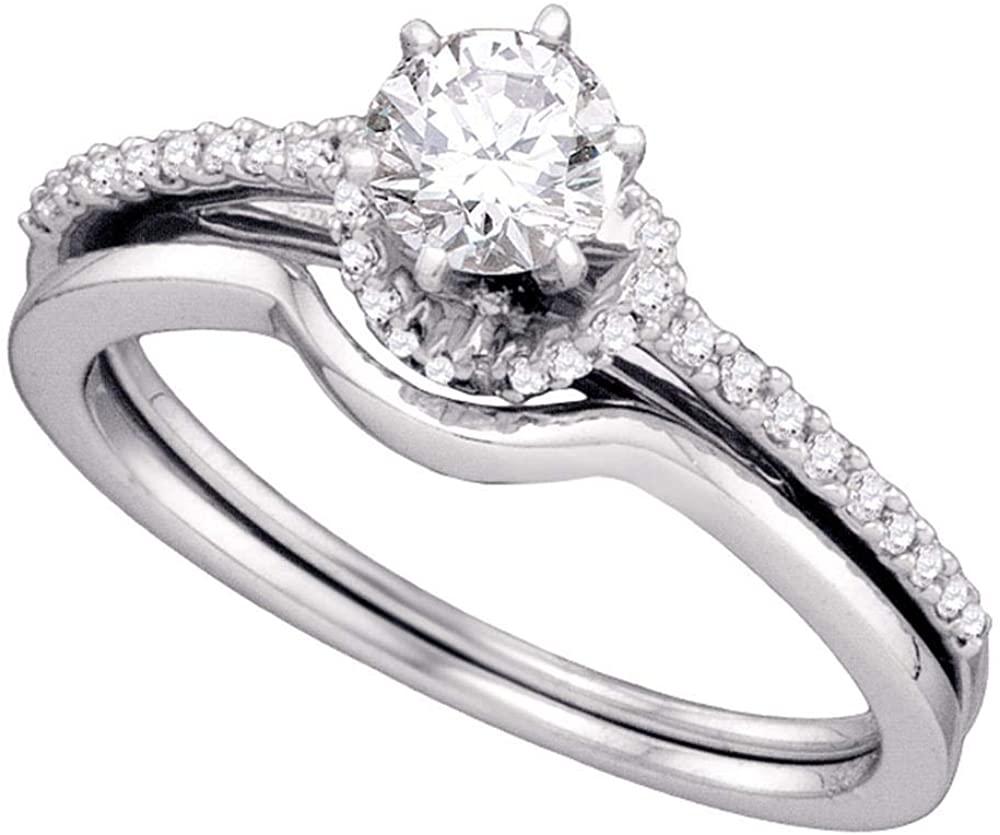 14k White Gold Round Diamond Slender Bridal Wedding Ring Band Set 1/2 Cttw