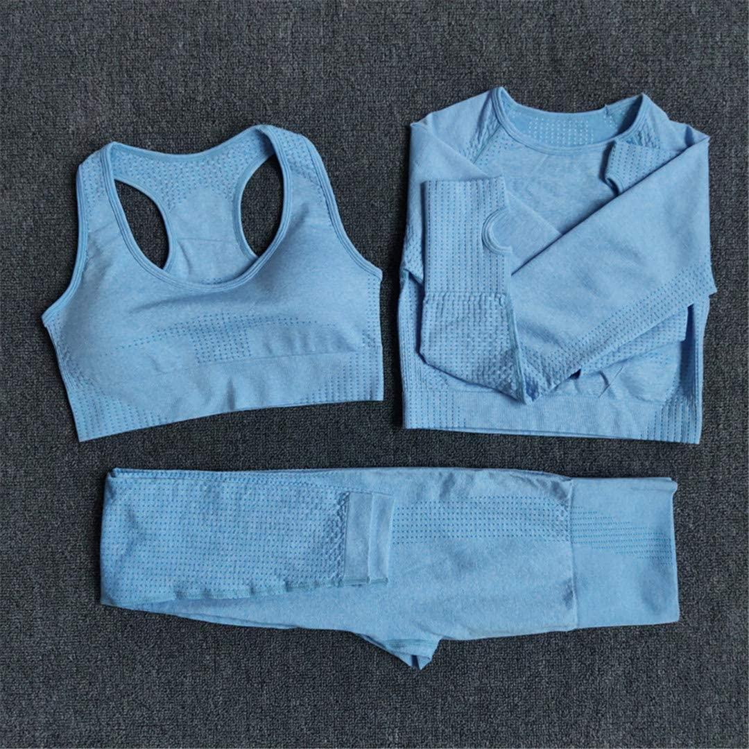 BEACHZHB Women Seamless Yoga Fitness Sports Suits Gym Long Sleeve Crop Top Shirts Waist Running Leggings Workout Pants