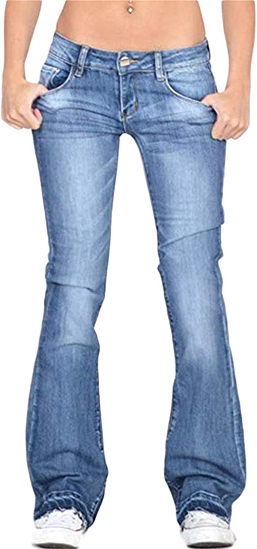 Andongnywell Jeans for Women Plus Size Women's Modern Boot Cut Jean High Waist Denim Skinny Jeans Bells Bottom Flare Pants