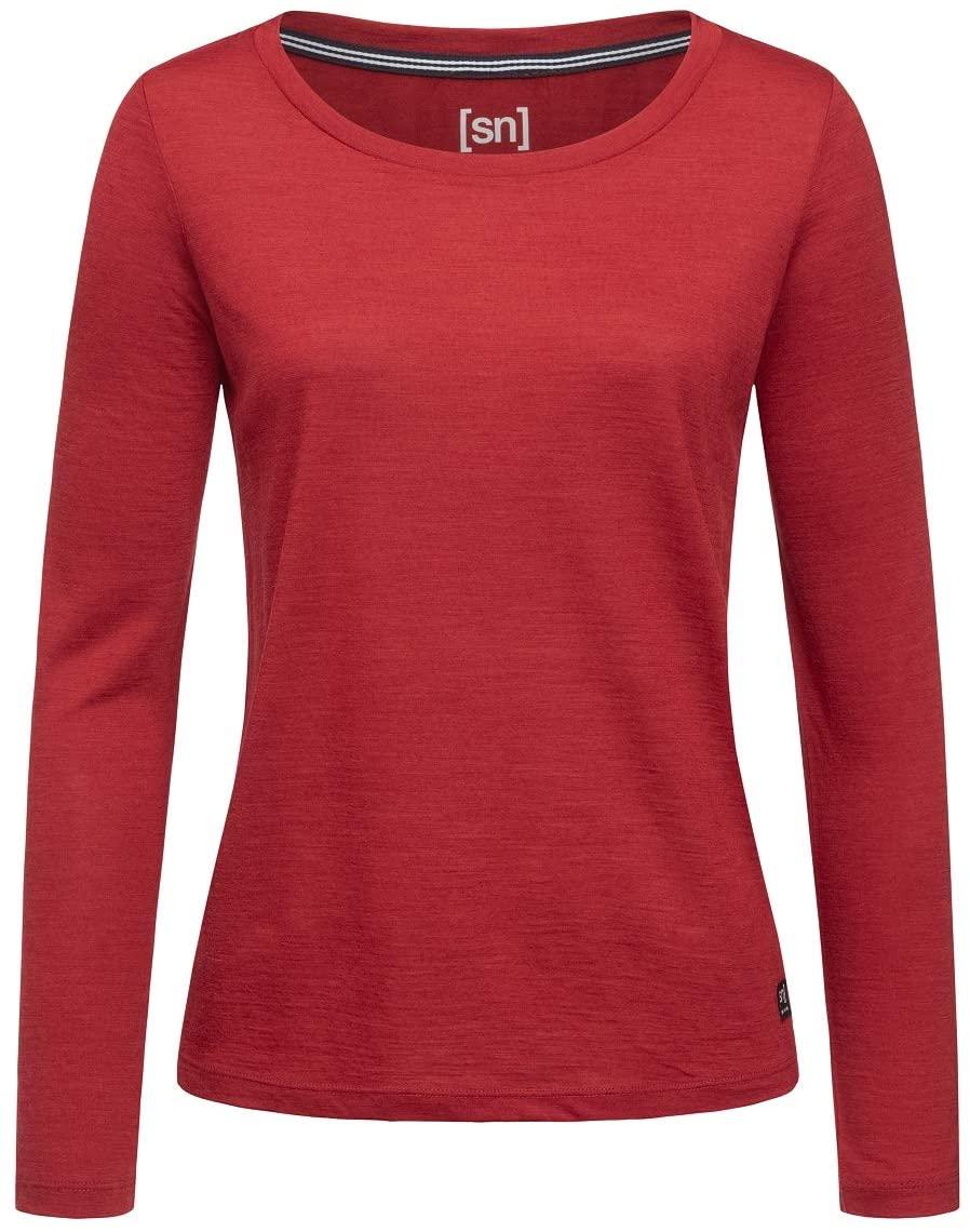 super.natural Women Red Dhalia Melange Essential Scoop Long Sleeve T-Shirt