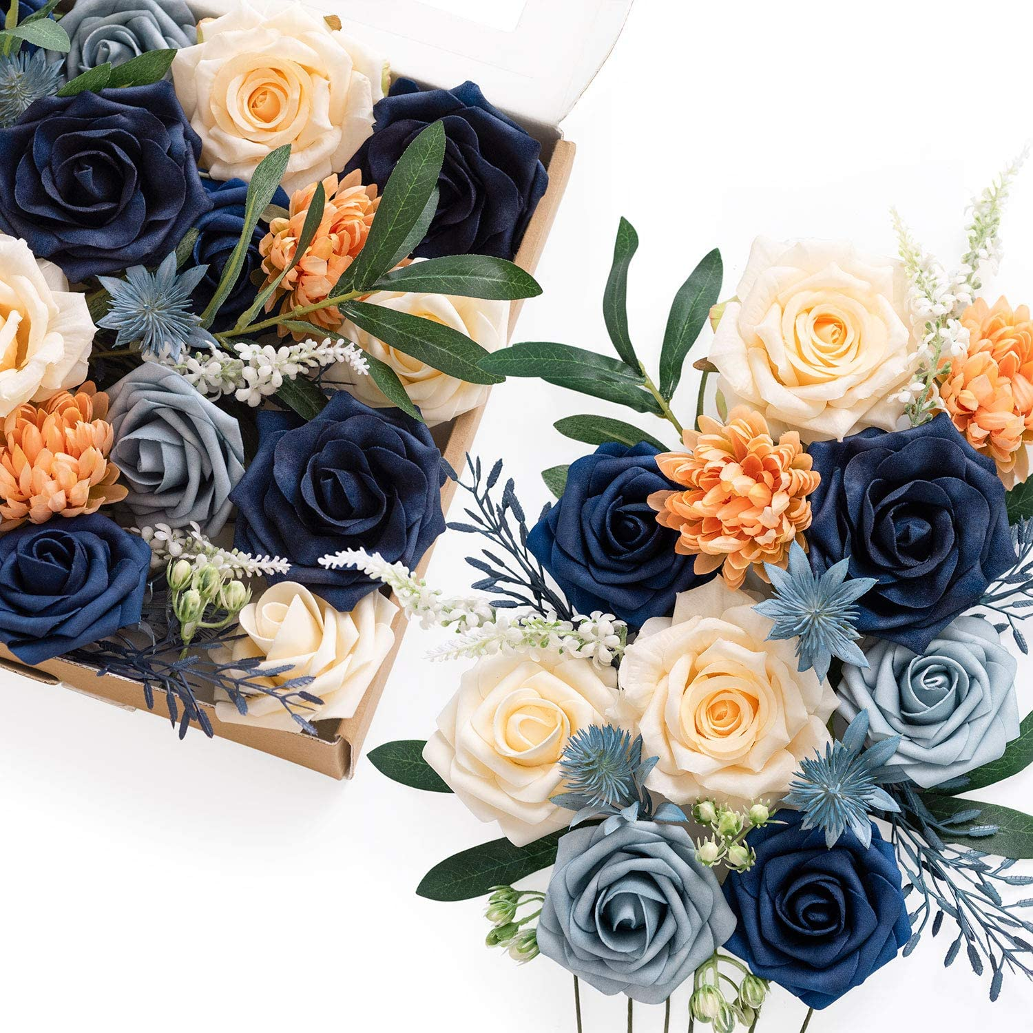Ling's moment Deluxe Wedding Decoration Artificial Flowers Box Set Classic Navy Blue Theme for DIY Bouquets Boutonniers Centerpieces Garlands Arch Floral Arrangements