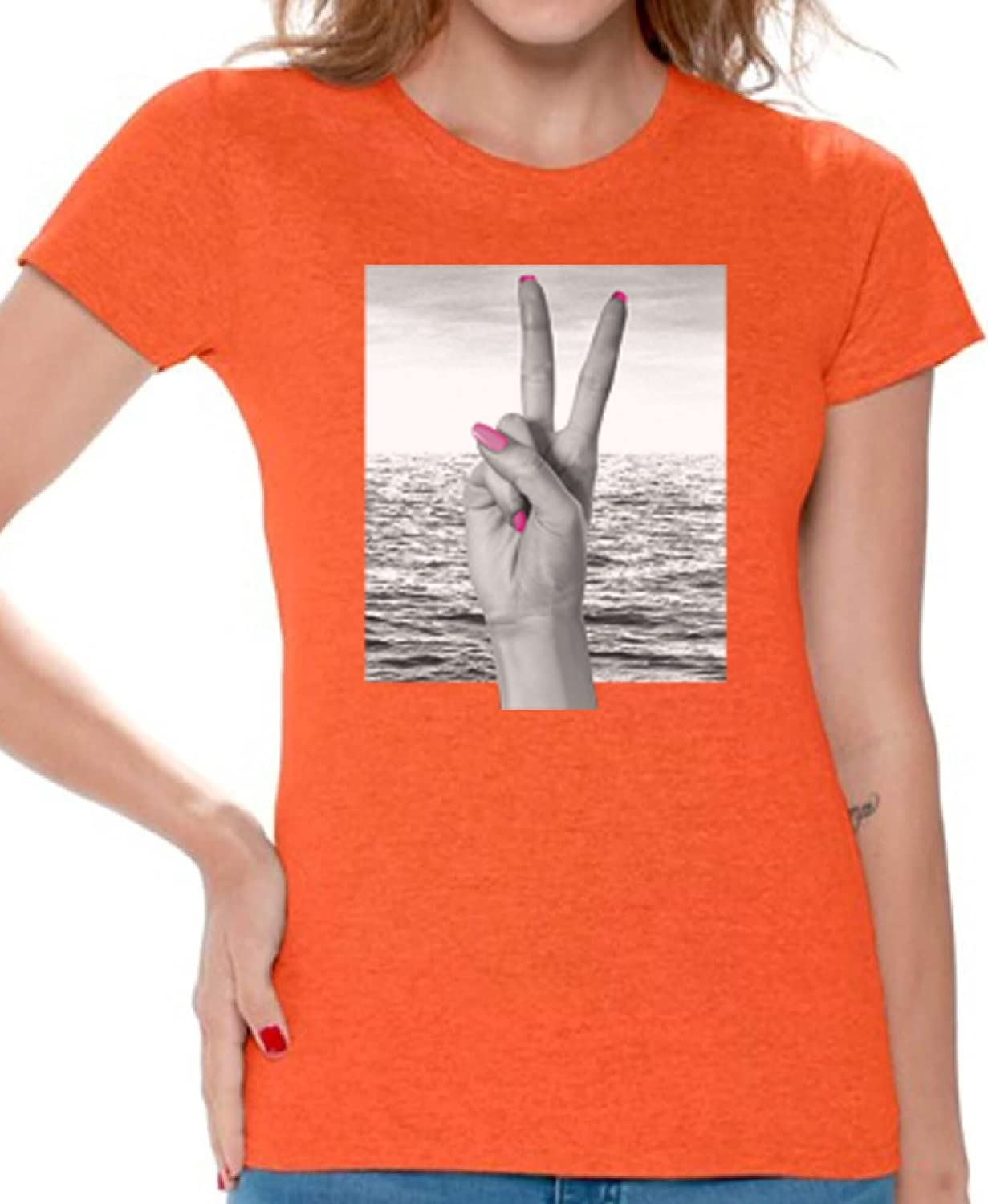 Awkward Styles Women's Peace Sign Hand in Front of Ocean T Shirts Tee Tops for Women Orange 3XL