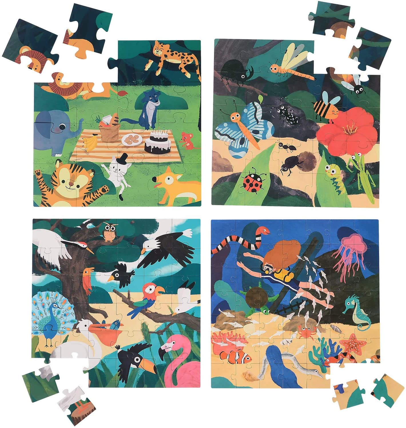 MAGIFIRE Jigsaw Puzzles 4-in-1-Box,Toys Gifts for Kids Adults Teens,Varying Difficulty Levels