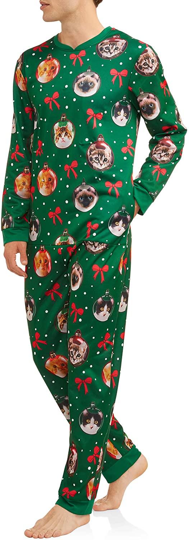 Cat Mens Lighted Ugly Christmas Sweater Minky Fleece Union Suit Pajamas